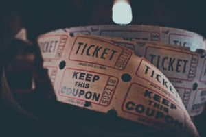 A roll of movie tickets