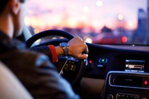 A man driving.